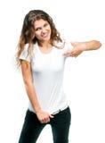 Hübsches Mädchen mit unbelegtem T-Shirt Stockfoto