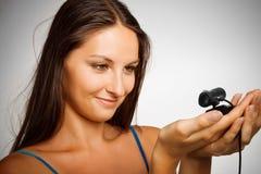 Hübsches Mädchen mit webcamera Lizenzfreies Stockbild