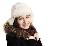 Hübsches Mädchen mit Winterkleidung lizenzfreies stockbild
