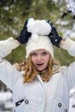 Hübsches Mädchen am Schneetag in Israel Stockfotos