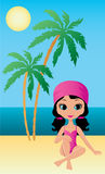 Hübsches Mädchen sitzt auf einem Strand Stockfotos
