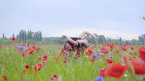 Hübsches Mädchentanzen auf einem Mohnblumengebiet, das glücklich lächelt Verbindung mit Natur Freizeit in der Natur Bl?hende Mohn stock video footage