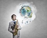 Hübsches Saxophonist Concept-Bild Stockfotografie