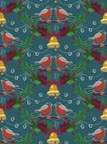 Hübsches Weihnachtsnahtloses Dompfaffmuster Stockbild