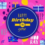 Hüften-Hüften-Hooray alles- Gute zum Geburtstaggruß-Karte Lizenzfreie Stockfotografie