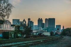 Hügel Atlantas Georgia Skyline Perspective From Castleberry stockfotografie