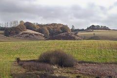 Hügel in den Herbst-Farben Stockfotos