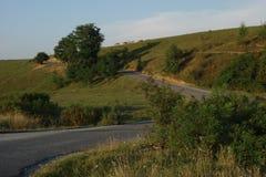 Hügel in der Landschaft, mit Gruppe des Kuhweiden lassens und -straße sie kletternd Lizenzfreie Stockbilder