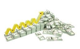 Hügel des Geldes lokalisiert auf weißem Hintergrund Lizenzfreies Stockfoto
