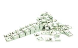 Hügel des Geldes lokalisiert auf weißem Hintergrund Stockfotografie