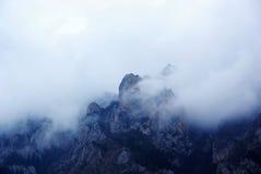 Hügel mit Nebel Stockfoto