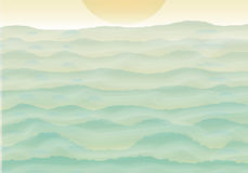 Hügel mit Nebel und Sonne Lizenzfreie Stockbilder