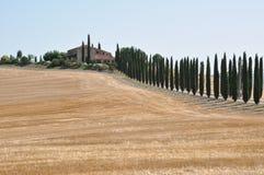 Hügel nach der Ernte Val d Orcia, Toskana Lizenzfreie Stockfotos