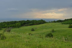 Hügel und Blume-gefüllte Wiesen vor dem Regen Lizenzfreies Stockfoto