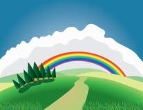 Hügel und Regenbogen Stockfoto