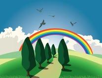 Hügel und Regenbogen Stockbild