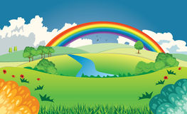 Hügel und Regenbogen Stockbilder