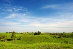 Hügelige grüne Wiese und Wolken im Himmel Stockfotografie