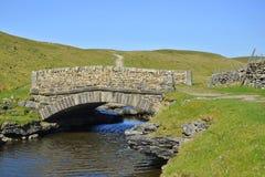 Hügelige Landschaft: kleine Brücke über Strom, Abschluss Stockbilder