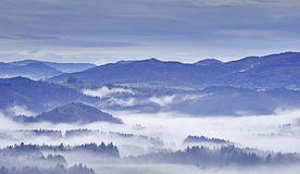 Hügelige Landschaft mit Nebel Lizenzfreie Stockfotos