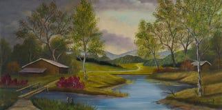 Hügelige Landschaft mit Scheunen und einem Fluss