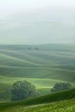 Hügelige Landschaft von Toskana im Nebel Lizenzfreie Stockbilder
