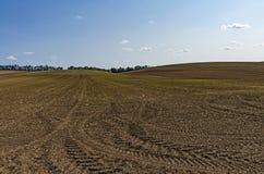Hügeliges Ackerland mit Reifenkennzeichen im Boden Lizenzfreie Stockbilder