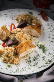Hühnchenbrust mit Reis Stockfotos