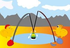 Hühner auf Fischen. Stockbild