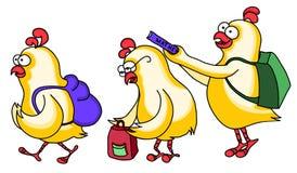 Hühner gehen zur Schule Lizenzfreie Stockbilder