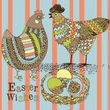 Hühner und Eier im Nest Stockfotografie