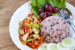 Hühner-und Gemüseaufruhr mit Reis Lizenzfreie Stockfotos
