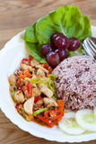 Hühner-und Gemüseaufruhr mit Reis Stockbild