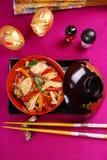 Hühner- und Gemüseaufruhrfischrogen Stockfotografie