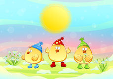 Hühner und Schneeglöckchen. Stockbild