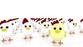 Hühnerarmee mit vielen kleines nettes weißes Huhn Stockbild