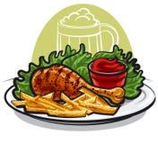 Hühnerbein und Fischrogen Stockfoto