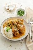 Hühnerbeine gedünstet in der Curry- und Kokosnusssoße lizenzfreie stockfotos