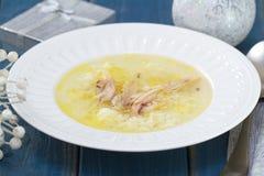 Hühnerbrühe mit Reis und Huhn Lizenzfreies Stockbild