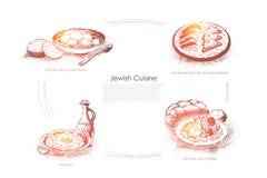 Hühnerbrühe und Matzo, forshmak von den Fischen auf Schwarzbrot, hummus, tsimmers und Challah, jüdische Küchefahne lizenzfreie abbildung