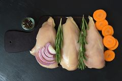 Hühnerbrust mit Rosmarin und Karotten und Zwiebeln Ansichtspitze Stockfotografie