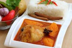 Hühnercurry mit Reis und Essstäbchen Lizenzfreie Stockbilder
