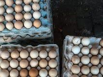 Hühnereien braun und weiß in einer speziellen Pappschachtel für Eier auf schwarzem Hintergrund Stockfoto