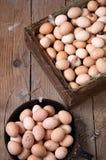 Hühnereien in einer Holzkiste und in einem runden Behälter Lizenzfreies Stockbild