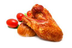 Hühnerflügel und Kirsche Stockfoto