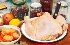 Hühnerfleisch, -gemüse und -gewürze. Lizenzfreie Stockfotografie