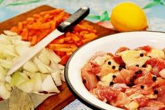 Hühnerfleisch, -gemüse und -gewürze. Stockfoto