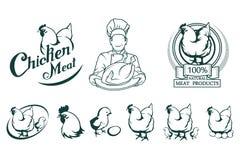 Hühnerfleischlogo Fleisch-Lebensmittel stock abbildung