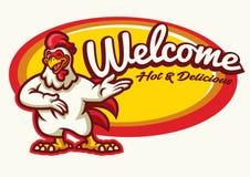 Hühnerhahnmaskottchen glücklich Stockfoto