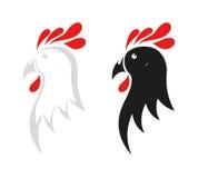 Hühnerikone auf Schwarzweiss Stockbild